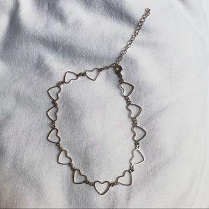 pacsun gold heart chain choker